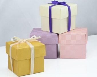 "50 Favor Box w/ Lid 4""x4"" Cube Wedding Pastel Color Bridal Baby Shower Party Boxes"