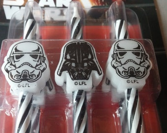 6 STAR WARS Darth Vader Storm Trooper Candles cake topper birthday party cupcake The Force Awakens candle space grooms bachelor C3P0 R2D2