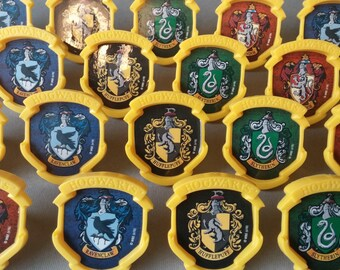 24 Harry Potter Hogwarts Houses rings for cupcake toppers cake birthday party favors Ravenclaw Hufflepuff Slytherin Gryffindor crests