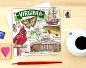 Virginia notecard. Single or Pack of 4.