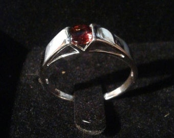 Natural Garnet Rhodium wrapped Sterling Silver Gent's Ring