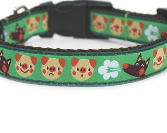 Three Little Pigs Dog Collar, Fairy Tale, Can be Personalized, Dog Collar for Girls or Boys, Cute, Small Dog Collar- The Three Little Pigs