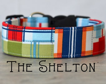 "Fun Modern Abstract Geometric Multicolor Dog Collar ""The Shelton"""
