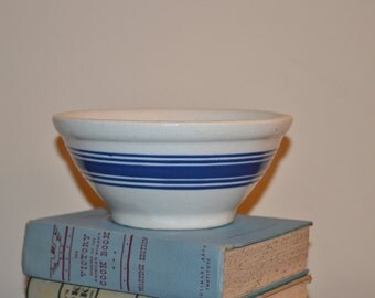 Yellow Ware Yelloware Bowl - White with Blue Bands - White and Blue Yelloware/Yellow Ware Mixing Bowl - Early 1920s - Primitive Farmhouse