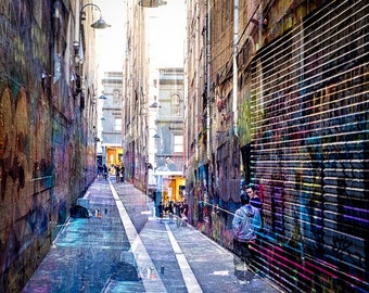 Melbourne Laneway Graffitti Art, Art Photography, Double Exposure, Ready to Frame, Print, Grunge, Dark colours