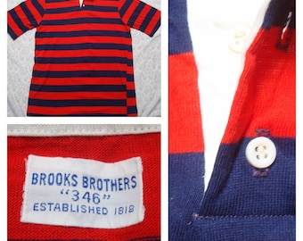 Vintage Retro Men's Brooks Brothers Red Blue Striped Polo Buttonup Shirt Short Sleeve Large