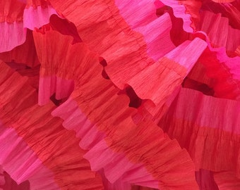 Flame Red and Bombay Pink Ruffled Crepe Paper Streamers - Valentine's Day - 36 feet - Paper Decor Supplies