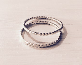 Recycled Argentium Sterling Silver Twisted Stack Rings and Midi Rings