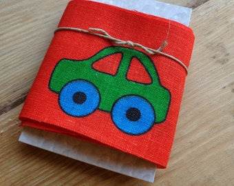 Linen Ribbon Green Car on Red 65 mm 1.5 meters on Tag Decorative Linen Tape