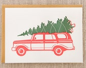 Tree Wagon Letterpress Holiday Card