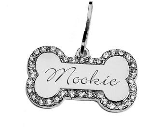 Personalized Silver Bone Pet Tag With Rhinestones Engraved FREE for dogs