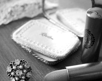 Powder my nose - Original Fine Art Photograph (home decor, vintage, feminine, lipstick, earrings, black and white)