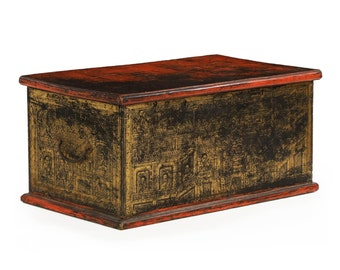 Antique Hand Painted Asian Dovetailed and Gilded Blanket Chest, 19th Century, 607YPB23
