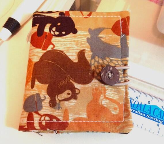 Basket Making Supplies New York : Squirrel fabric needle book pin cushion case sewing