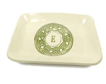 Celtic Knot Dish, Initial Celtic Knot Plate, Irish Housewarming, Irish Plate, Irish Decor, Celtic Pottery, Irish Kitchen Decor, Candy Dish