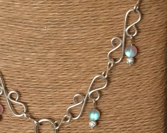 Silver Plated Bridghe necklace with Frosted Opal Glass beads - gobc0105