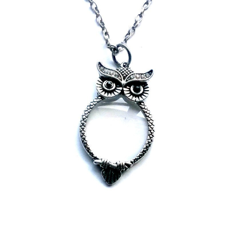 owl magnifying glass necklace steunk reading glasses