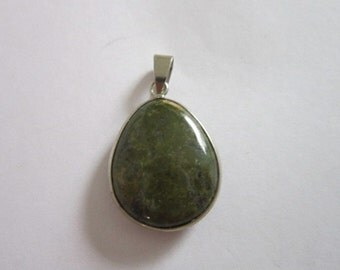 Necklace Pendant Sterling Silver & Polished Green Real Jade Stone Necklace Pendant