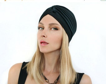 SALE Day Women  Black Turban Hat