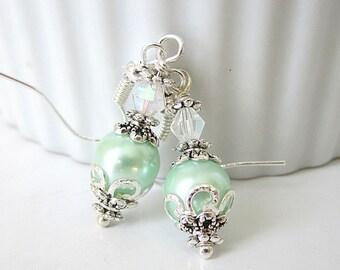 Pearl Bridesmaid Earrings, Mint Green Bridesmaid Jewellery, Mint Wedding, Pastel Green, Pearl Drop Earrings, Wedding Jewellery