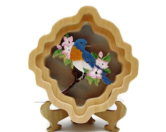 Bluebird self-framing picture realistic colorful bird wooden scrollsawed handmade handpainted
