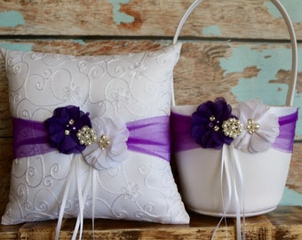 Your Color , Ring Bearer Pillow , Flower Girl Basket , Purple Flower Girl Basket and Ring Bearer Pillow Set , Wedding Pillow