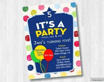 Birthday Party-Printable 5x7 Invitation *Digital File Only*