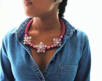 Pink Flower Massai Statement Necklace