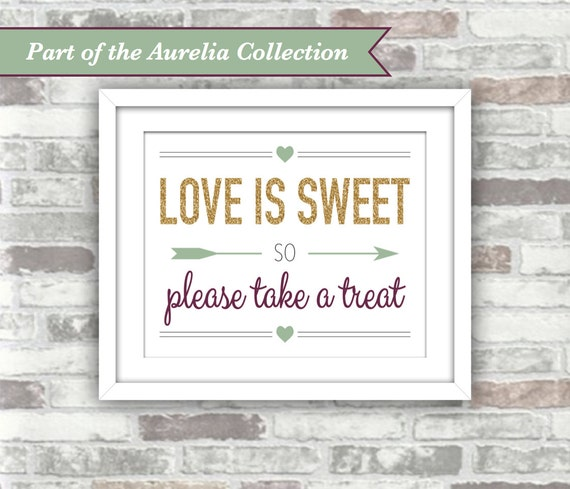 INSTANT DOWNLOAD - Aurelia Collection - Candy Bar Printable Wedding Sign - Love is Sweet - Fall Autumn Gold Plum Green - 8x10 Digital File