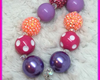 Dora and Boots Chunky Childrens Necklace: hot pink, purple, and orange