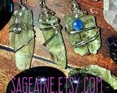 SageAine: Hiddenite Crystal Amulet, handmade, ooak, Heart Healer, Metaphysical Crystal Healing