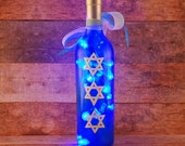 Hanukkah wine bottle light, hand painted, Star of David, blue and white