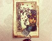 Whimsical Gift Tags,Handmade Tags, 4 Mixed Media Tags, Wine Tags, Gift Tags, Art Tag s., Journal Tags, No. 0707