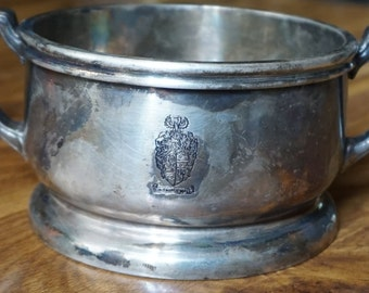 "Vintage Reed and Barton Silver Soldered 1950's monogrammed ""Sir Francis Drake"", serving bowl."