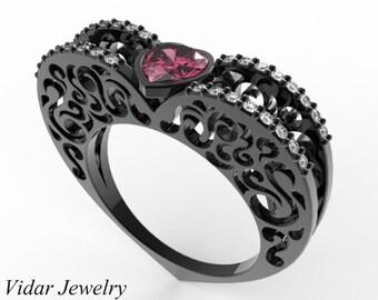 Black Gold Pink Sapphire Heart Shape Engagement Ring,Unique Engagement Ring,Pink Sapphire Engagement Ring,Heart Engagement Ring