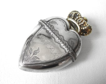 Antique Norwegian Silver Scent Heart Shaped Box With Crown Luktevannshus Hovedvandsæg Dated 1842