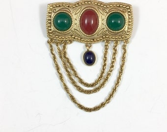 Retro GoldTone Red Green Cabochon Brooch with Chain Accent