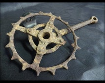"""Classic Antique (1920s Vintage Rusty Iron Pre-war Bicycle """"Skip Tooth"""" Sprocket Spike Teeth & Rustic Patina) Steampunk, GOTHIC Home Decor!"""