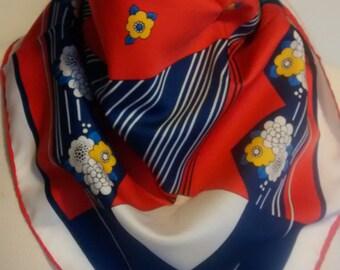 Jean Parel Retro Vintage headscarf.  Red blue white