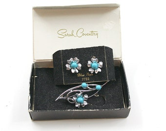 Sarah Coventry Blue Note Earrings and Pin