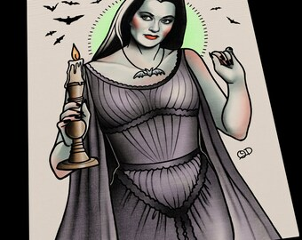 Lily Munster Tattoo Flash