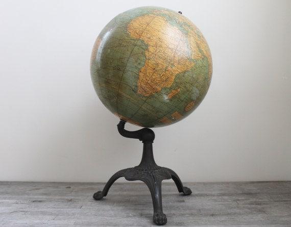 Exceptional Art Nouveau Claw Foot Terrestrial Globe  - Circa 1928