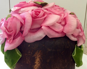 Vintage 60's Pink Rose Cap Perfect Condition