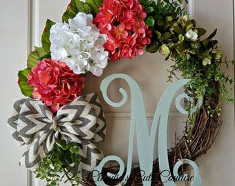 Spring Wreath,Wreath for Front Door,Hydrangea Wreath,Grapevine,Monogram Wreath,Valentine'sWreath,Summer,WreathforDoor,DoorDecoration,Wreaths