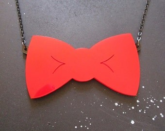 Bow Tie's Are Cool Statement Necklace In Red or Black Doctor Who Inspired