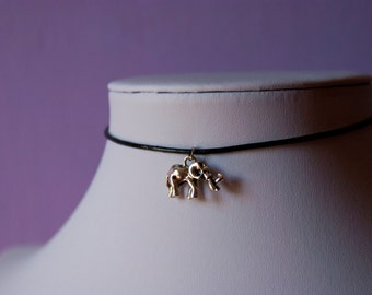 Elephant Silver Charm Black Choker Necklace Leather / Satin Silk Cord Retro 90s / For Her