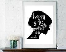 Audrey Hepburn Quote, Audrey Hepburn Wall Art,  Pink Wall Art, Inspirational Quote, Girls Room Decor, Happy Girls are the Prettiest Girls,