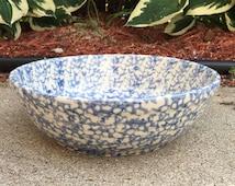 Vintage Workshops Of Gerald E Henn Blue Spongeware Pottery Stoneware Serving Bowl Rosevill OH
