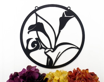 Calla Lily Flower Metal Wall Art - Black, 11x11, Garden Gift, Garden Art, Garden Decor, Garden Wall Art, Garden Sign