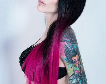 Ombre Pink Dip Dyed Straight Clip-In Hair Extensions (7 pieces)